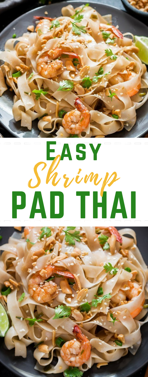 You guys won't believe how delicious this healthy shrimp pad Thai noodles recipe is! And you know what, you can make it in 15 minutes with all BIG flavors. Fresh, bold flavors from Thai cuisine is to die for. You'll love all the flavors in this Pad Thai!