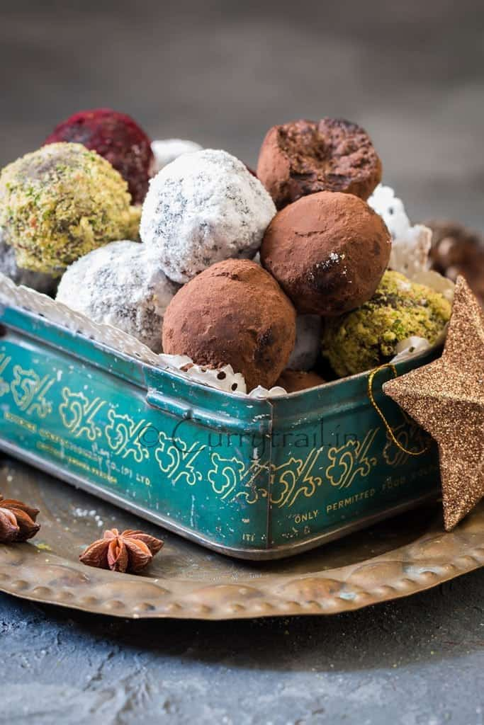 Christmas Rum Balls served in vintage cookie box is simple to make and guaranteed to wow your guests