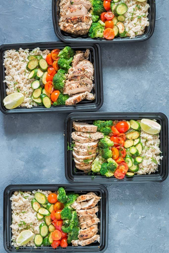chicken meal prep with brown rice in meal prep boxes