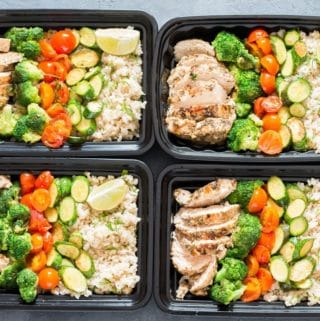 chicken meal prep with brown rice
