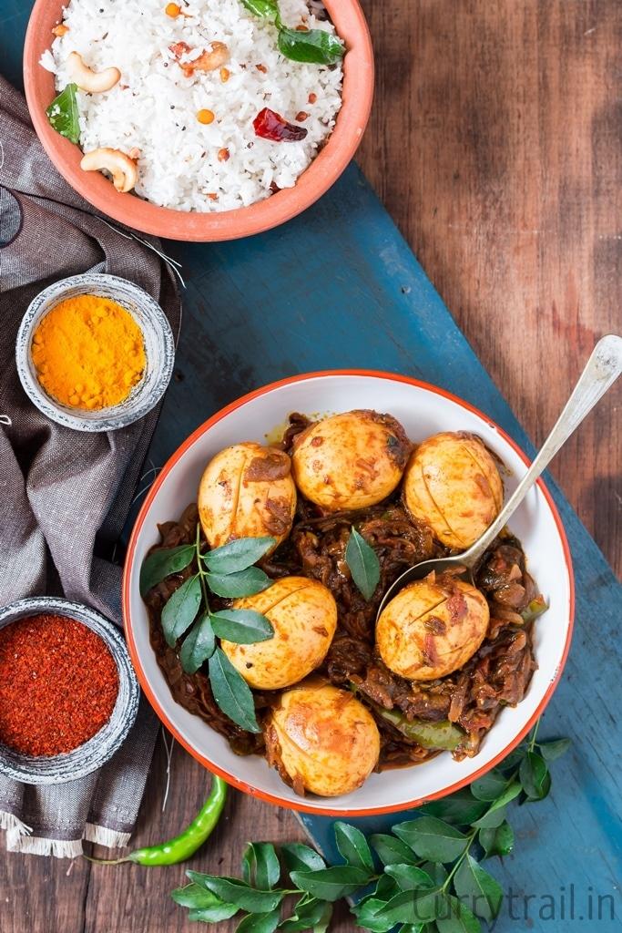 Kerala Style Egg Roast top view
