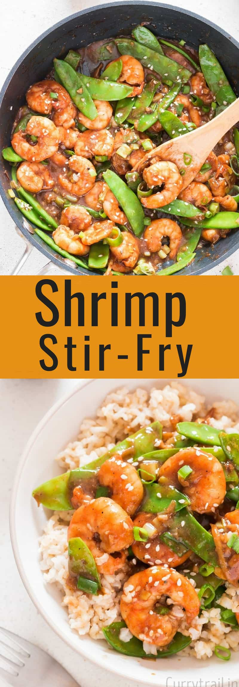 Healthy shrimp stir fry with text overlay
