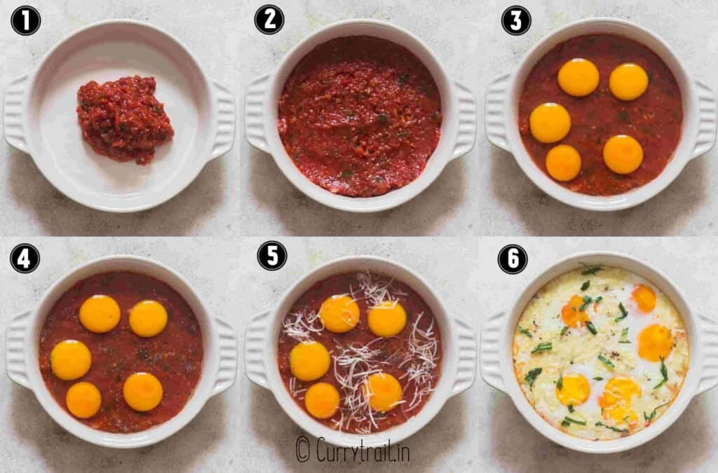 step by step picture collage of baked eggs