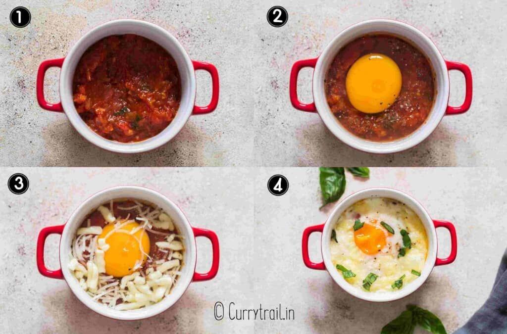 step by step picture collage of egg bake in ramekin