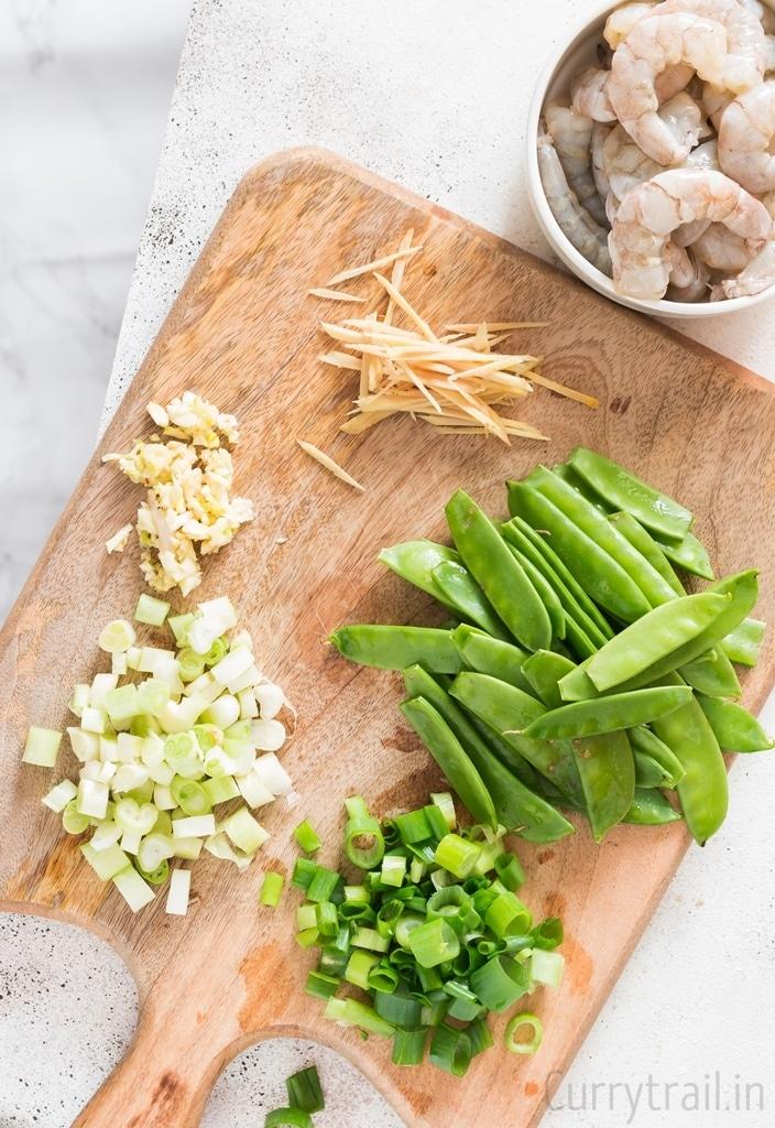 ingredients on cutting board for stir fry shrimp