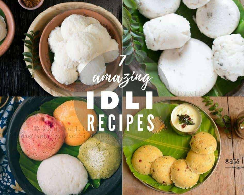 A collage of idli photos