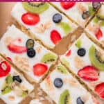 frozen yogurt bark with fruits and granola with text