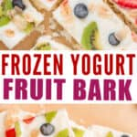 breakfast yogurt bark with fruits and granola with text