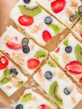Sliced frozen yogurt bark