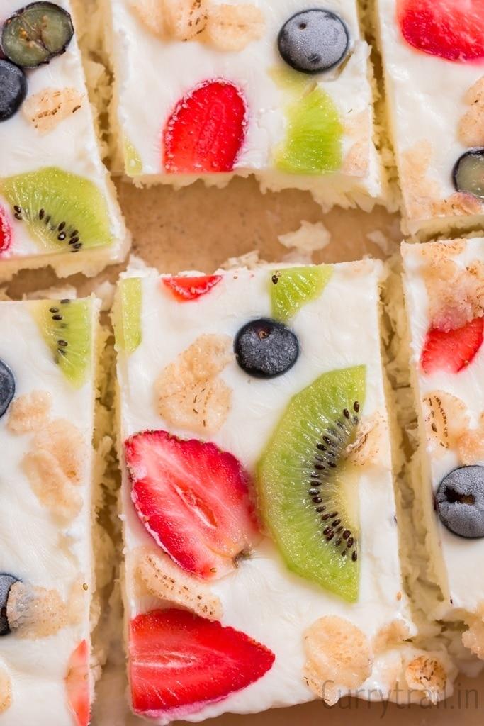 Close up of frozen yogurt bark