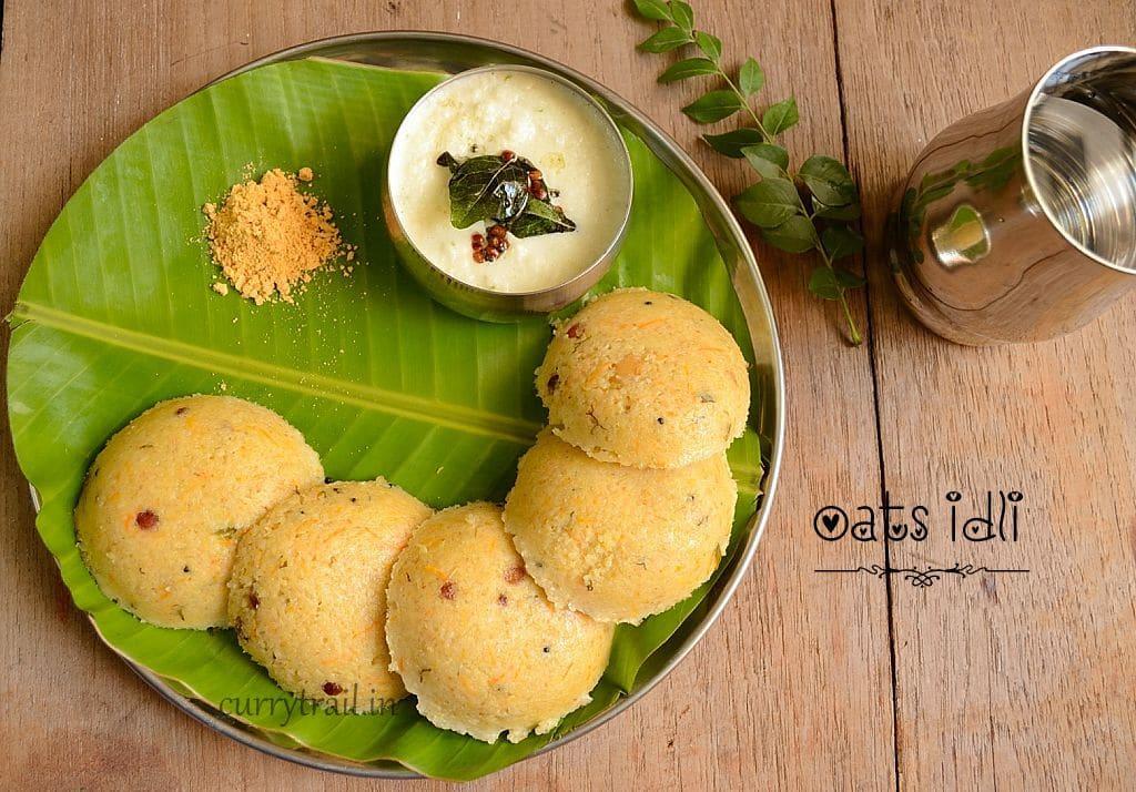 Oats idli on a plate with coconut chutney