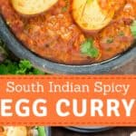This south Indian spicy egg curry recipe is quick ever-day dinner or lunch recipe that you cook. It pairs well with rice or rotis(flatbread). It's super easy recipe and takes less than 30 minutes to get the curry from your stove to the dinner table. Hard boiled eggs cooked in simple yet flavour packed Indian masala is this egg masala curry. It's spicy, decadent, satisfying and comfort meal on your plate.
