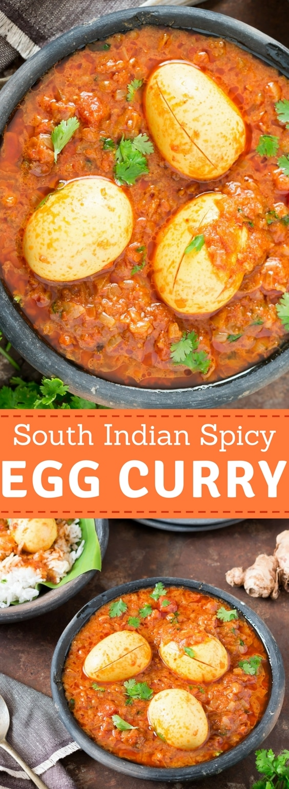 Indian Egg Curry Served in Ceramic black bowls with text overlay