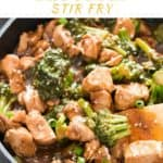 chicken rice and broccoli stir fry with text over lay