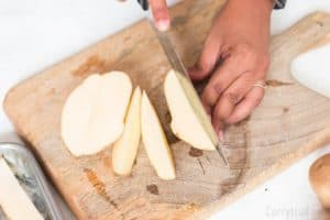 cutting potato wedges for oven baked potato wedges