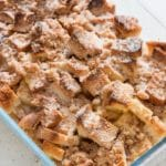 This super easy delicious overnight baked French toast casserole topped with brown sugar and cinnamon powder and all your French toast flavors that you can serve for breakfast for a large family