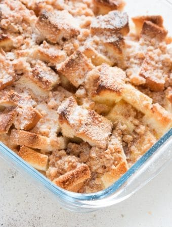 perfect warm delicious overnight baked French toast casserole takes French toast takes French toast to a whole new level