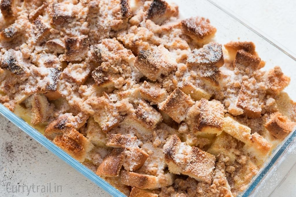 Cinnamon French toast baked in a casserole after letting it chill in refrigerator overnight