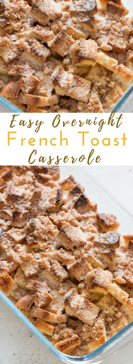 Overnight Baked French toast casserole is warm, comforting, wonderful and easy! Get all the prep work done the previous night and next morning just sprinkle the crumb and bake. Spiced with cinnamon this breakfast is the perfect breakfast you want to have during that lazy morning any weather! A warm brunch on a weekend is a delight!