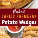oven baked potato wedges recipe with text overlay