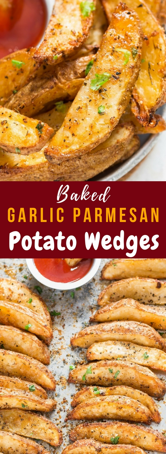 Garlic Parmesan Baked Potato Wedges 564x1538px with text overlay
