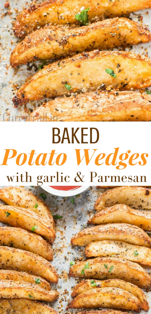 Garlic Parmesan Baked Potato Wedges 600x1250px with text overlay