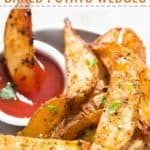baked potatoes wedges with text overlay