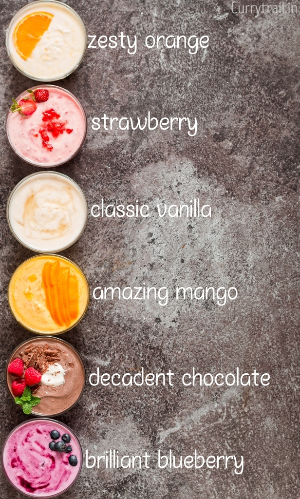 6 amazing Greek yogurt flavors on black background with text overlay