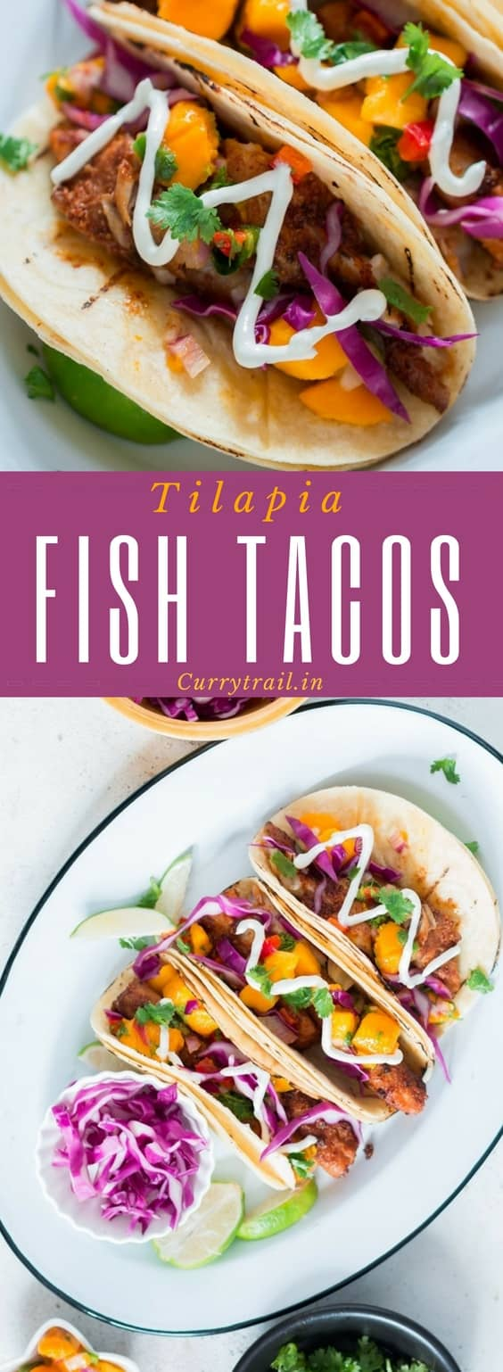 This easy tilapia fish tacos recipe with mango salsa is easy to make and the flavors in it is guaranteed to blow your mind. Are you ready for taco Tuesday? 30 minutes or less on the clock and you have the most delicious homemade tacos dinner to be served for dinner.