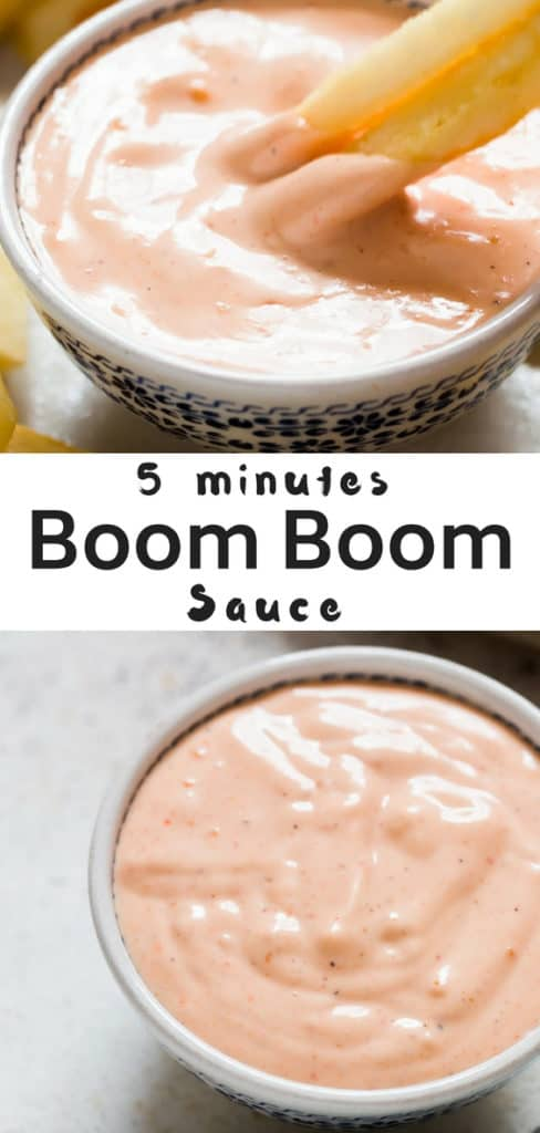 Got 5 minutes? Then you got to make this irresistible 5 minutes boom boom sauce. Put it on everything - hamburgers, fried seafood, grilled meat and vegetables, also on tacos. We love it with potato fries.