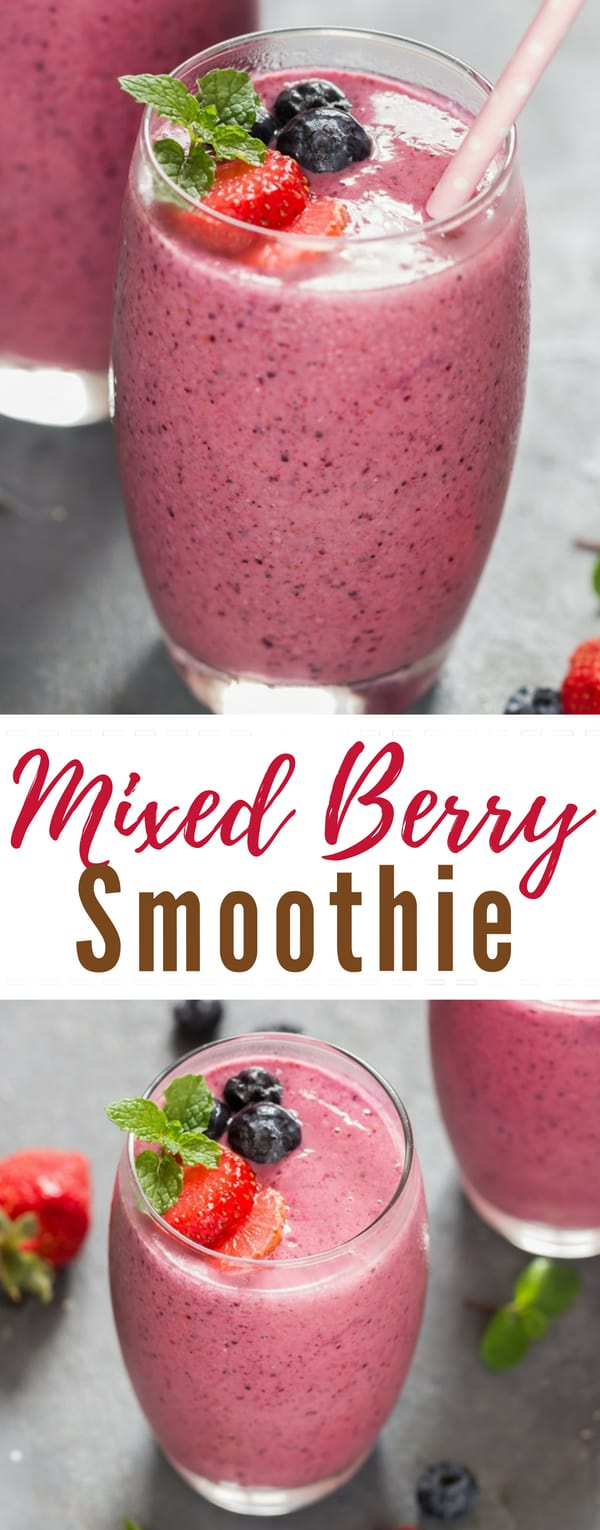 Thick mixed berry smoothie recipe is one of our favorite summer breakfast. Nothing screams summer like this gorgeous summer blend. Loaded with raspberries, strawberries, blueberries, banana, vanilla Greek yogurt it's summertime in a glass.