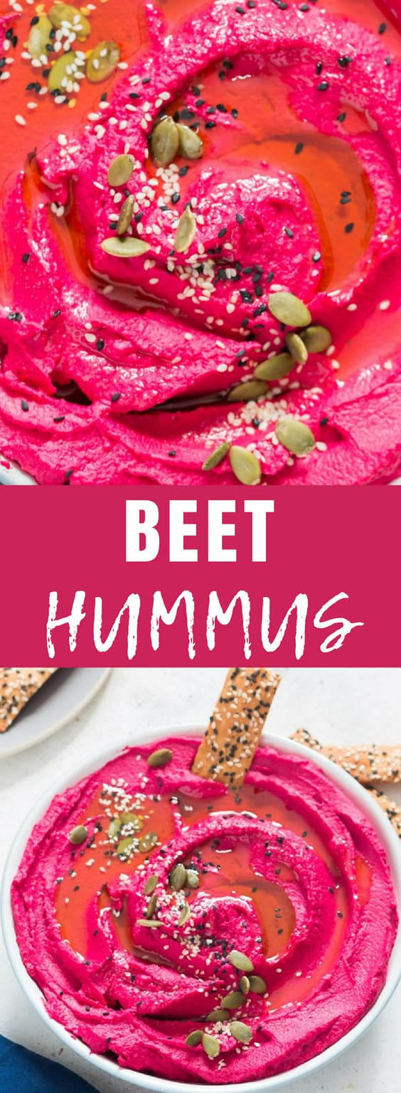 It takes 5 minutes to whip up a pink summery hummus, this is 5 minutes super creamy roasted beet hummus. We are in love with vibrant pink color of this roasted beet hummus. Beetroots adds slight sweet earthy flavors to the hummus with a burst of electric pink color, I've always been taken with the color! It's excellent dip with raw veggies, chips, pita bread.