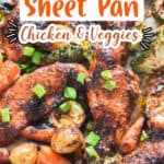 teriyaki chicken and vegetables cooked in sheet pan with text