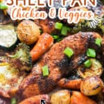 sheet pan chicken cooked with vegetables in homemade teriyaki sauce with text