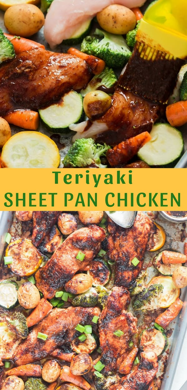 This one sheet pan teriyaki sheet pan chicken dinner is makes for a perfect easy weeknight dinner. One pan is all you need to bake moist chicken breasts and crunchy vegetables all seasoned well with salivating homemade teriyaki sauce (drizzle some extra sauce after baking, it's magic!)