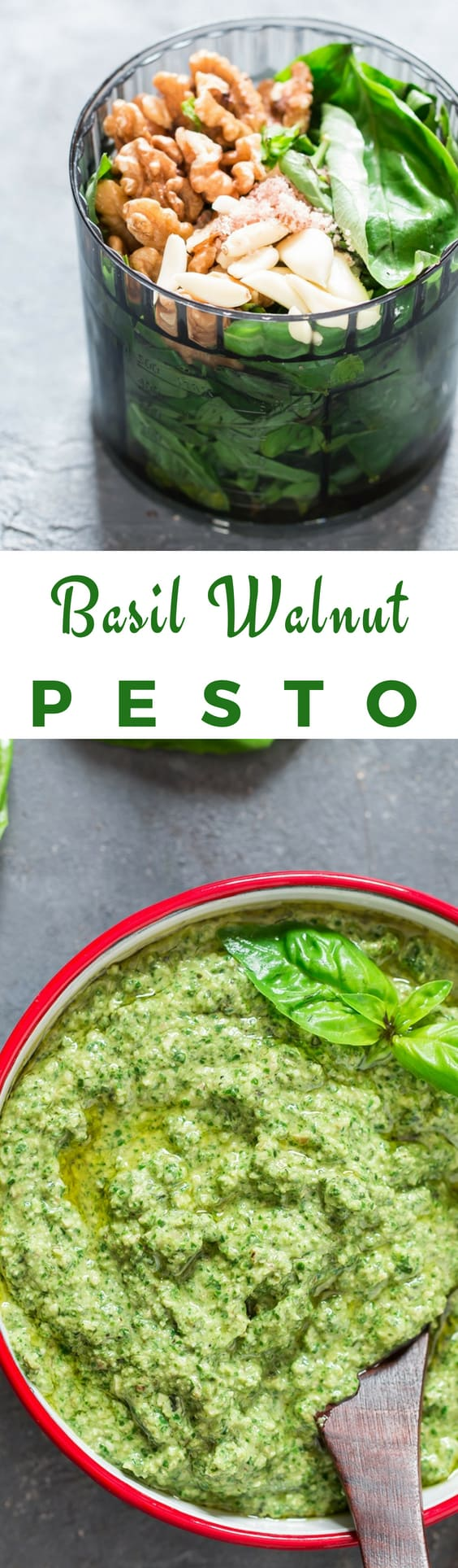 healthy vegan basil walnut pesto in white bowl with text overlay