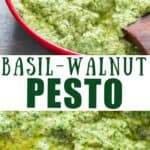 walnut basil pesto in small bowl with wooden spoon with text