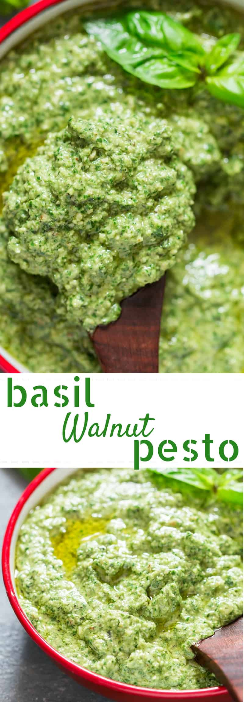 healthy vegan basil walnut pesto in white bowl