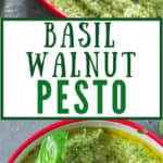 fresh basil pesto in a bowl with wooden spoon with text