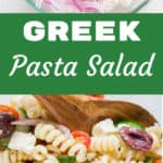 Greek pasta salad in glass bowl with text overlay