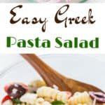 Greek pasta salad recipe with text overlay