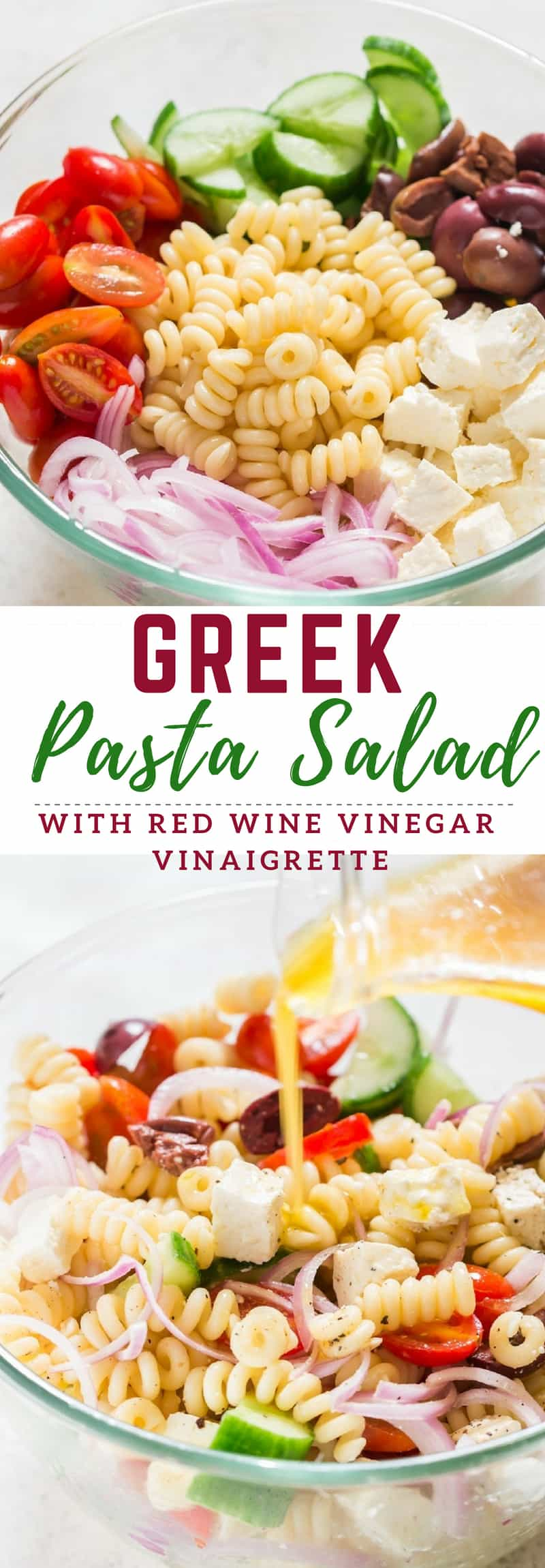 Greek pasta salad with red wine vinaigrette dressing