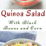Mexican quinoa salad in a bowl with text overlay