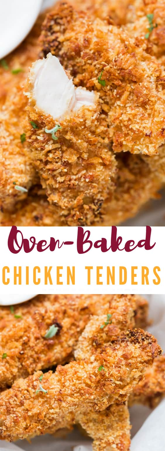 Crispy Oven Baked Chicken Tenders will blow your mind and taste buds. We are talking about super crispy chicken tenders with addictive Parmesan coating to it and they are BAKED! It tastes just like fried chicken but only baked!