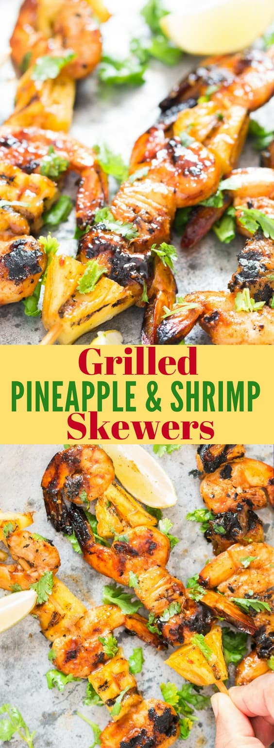 grilling shrimp skewers literally takes less than 10 minutes from grill to the plate. And what makes this pineapple shrimp skewers so amazing is the marinade that goes into the shrimp. It's ridiculously easy to make and so full of flavors, I can't stop bragging about it you see. Are you ready to fire up the grill!