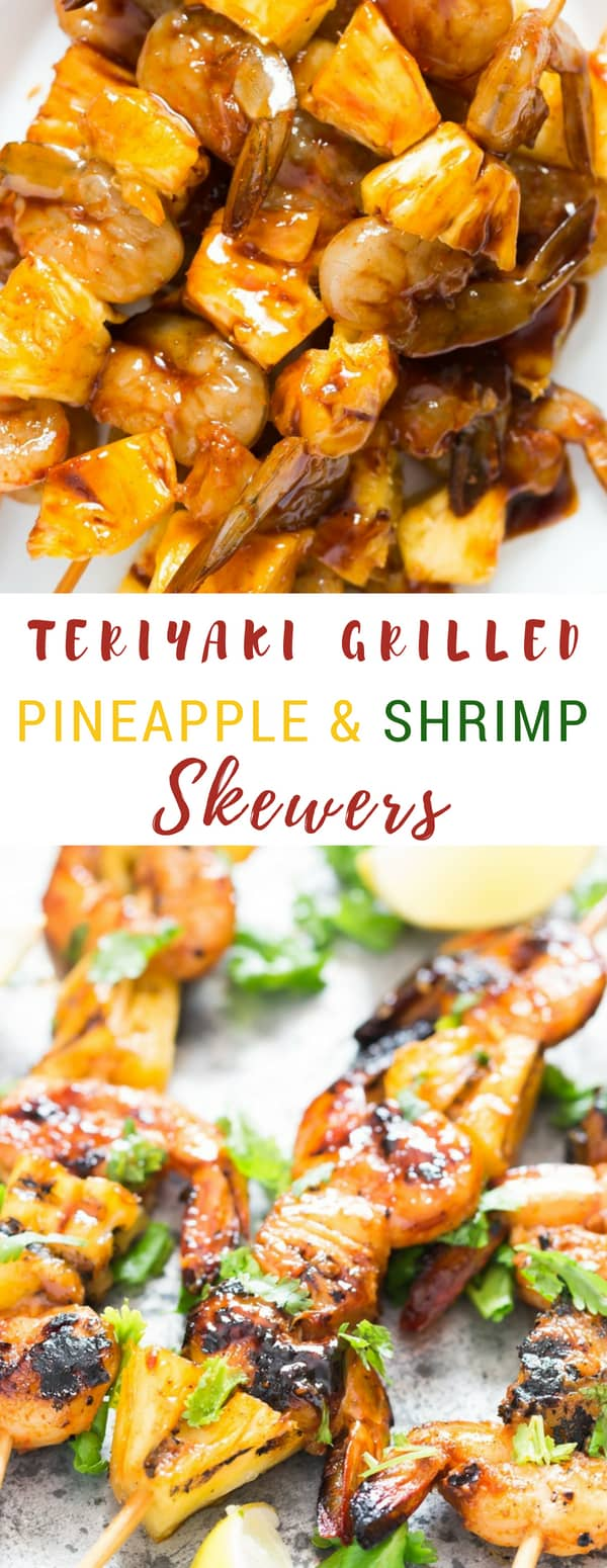 pineapple shrimp skewers before and after grilling with text overlay