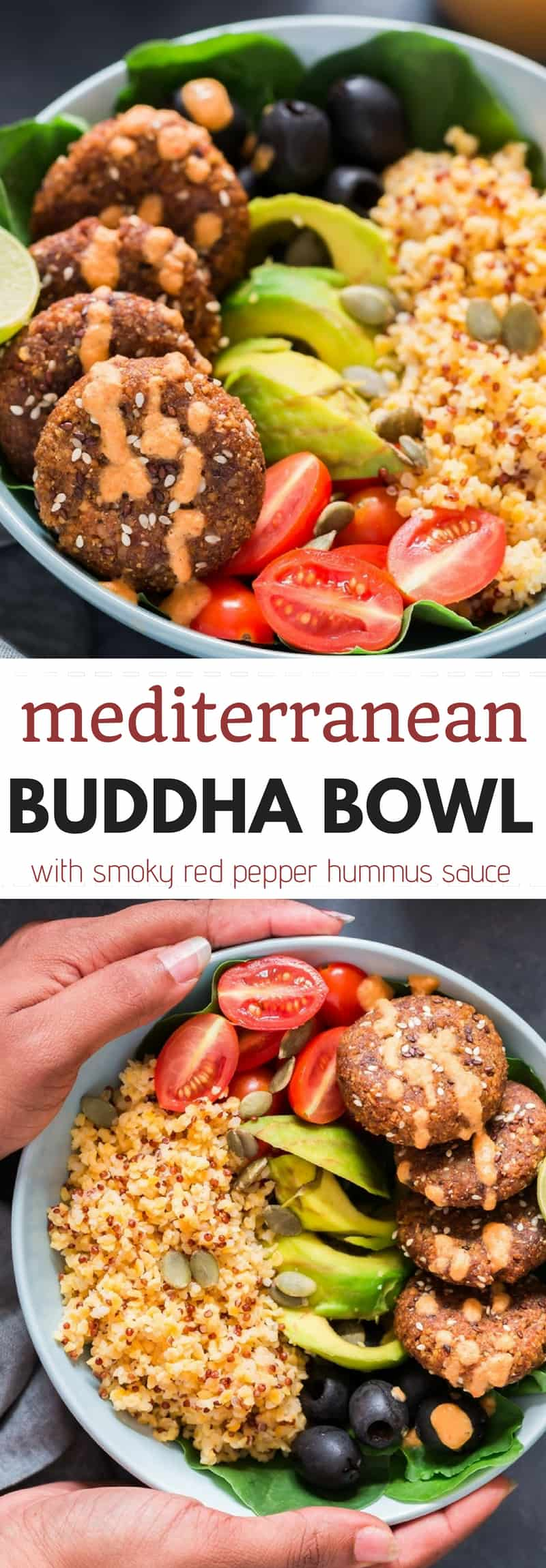 2 blue bowls having falafel, quinoa, vegetables all arranged for Mediterranean Vegan Buddha Bowl with red pepper hummus dressing with text overlay