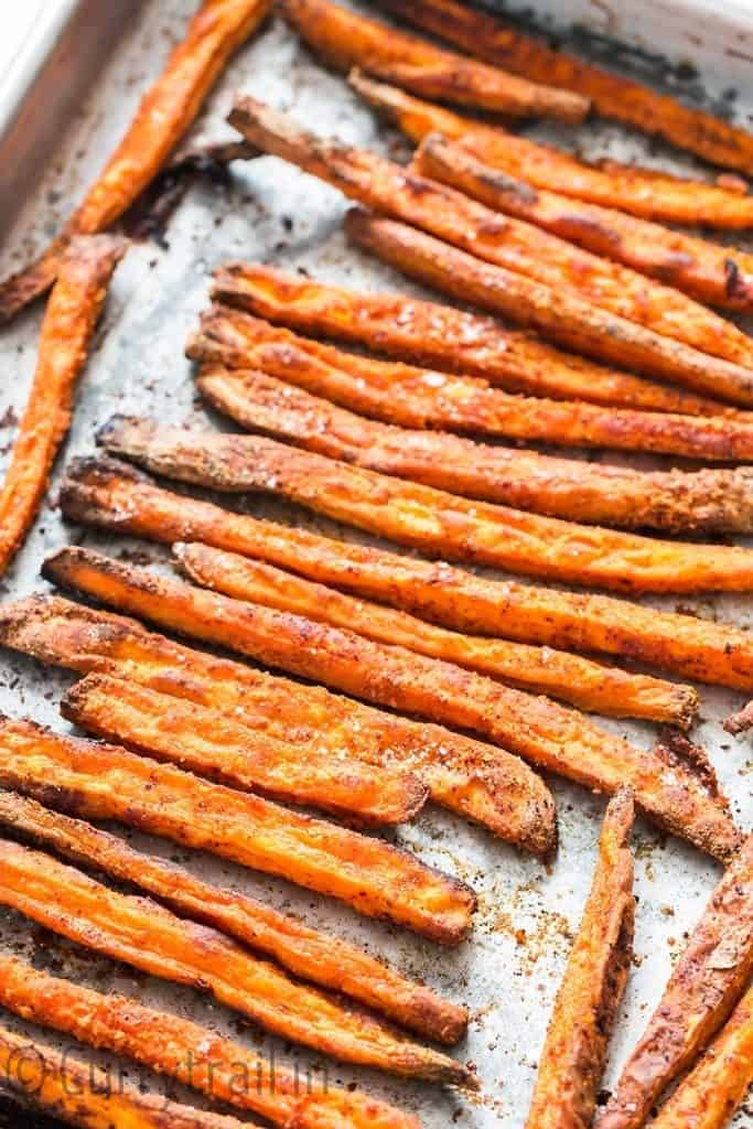baked sweet potato fries after baking