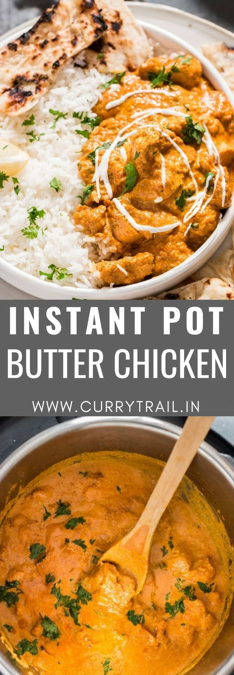 Instant pot butter chicken with text overlay