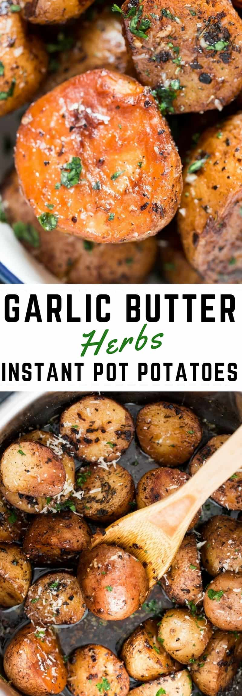 instant pot potatoes roasted with text overlay